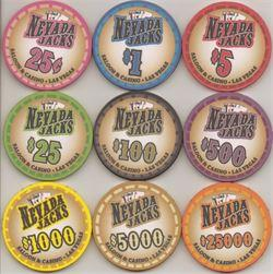 25 Nevada Jack Saloon 10 Gram Ceramic Poker Chips