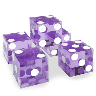 Purple 19MM Precision Razor Edge Serialized Set of 5 Casino Craps Dice