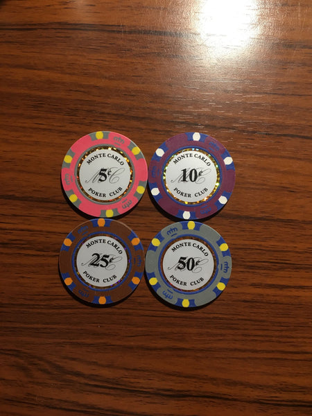 25 Cents Monte Carlo Smooth 14 Gram Poker Chips