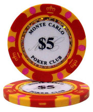 $5 Five Dollar Monte Carlo 14 Gram - 100 Poker Chips