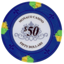 $50 Blue Lucky Monaco Casino 13.5 Gram - 100 Poker Chips