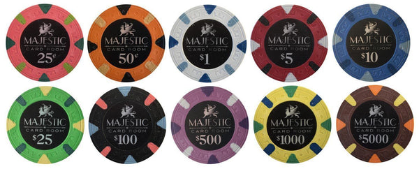 50 Card Room Pure Clay Poker Chips Bulk