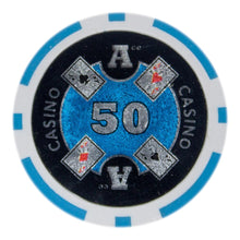 $50 Fifty Dollar Ace Casino 14 Gram - 100 Poker Chips