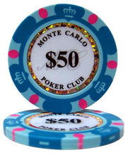 $50 Fifty Dollar Monte Carlo 14 Gram - 100 Poker Chips