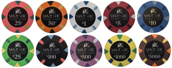 500 Card Room Pure Clay Poker Chips Bulk