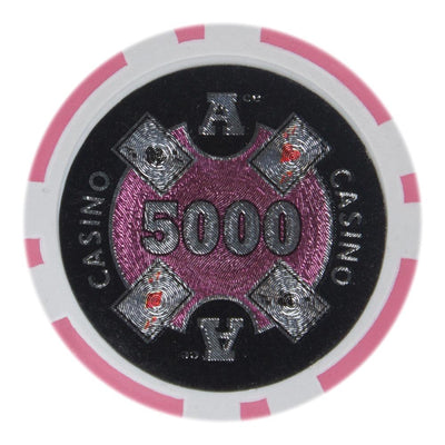 $5000 Five Thousand Dollar Ace Casino 14 Gram - 100 Poker Chips