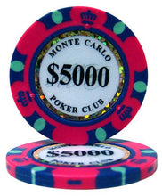 $5000 Five Thousand Dollar Monte Carlo 14 Gram - 100 Poker Chips
