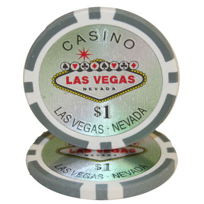 $1 Grey Las Vegas 14 Gram - 100 Poker Chips