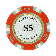 $5 Five Dollar Monte Carlo Smooth 14 Gram Poker Chips
