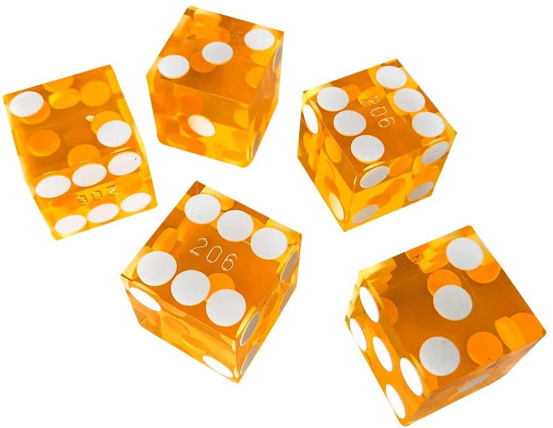 Yellow 19MM Precision Razor Edge Serialized Set of 5 Casino Craps Dice