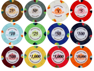 800 Lucky Monaco Casino 13.5 Gram Poker Chips Bulk