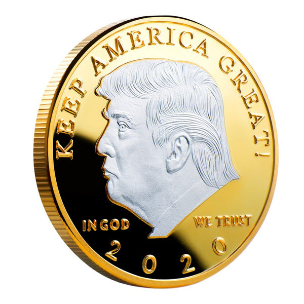 Gold with Silver Trump Challenge Coin Poker Card Guard