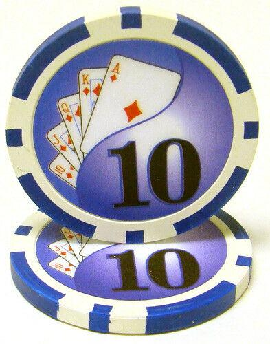Card Guard - $10 Ten Dollar Yin Yang 13.5 Gram - 100 Poker Chips