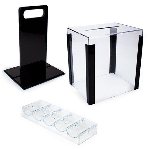 Card Guard - 1000 Tournament Pro 11.5 Gram Poker Chips Set With Acrylic Case + Racks
