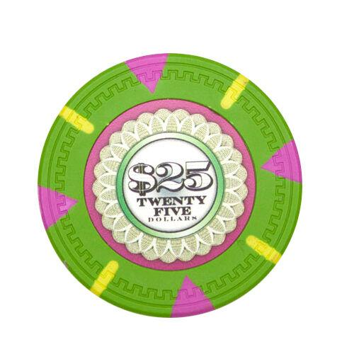 Card Guard - $25 Green Claysmith The Mint 13.5 Gram - 100 Poker Chips