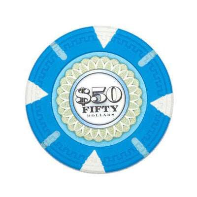 Card Guard - $50 Light Blue Claysmith The Mint 13.5 Gram - 100 Poker Chips