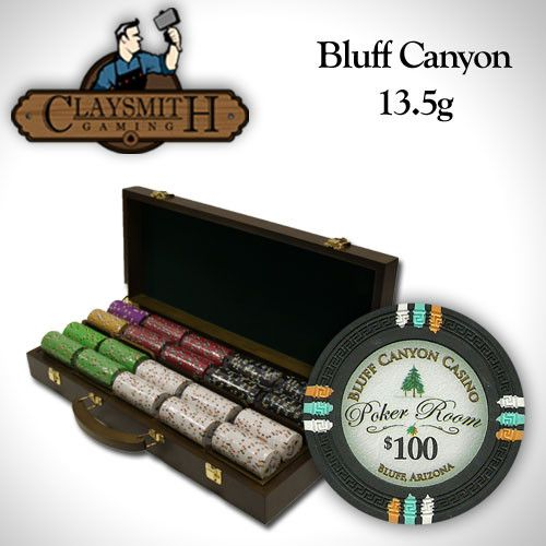 Card Guard - 500 Claysmith Bluff Canyon 13.5 Gram Poker Chips Set With Walnut Wood Case
