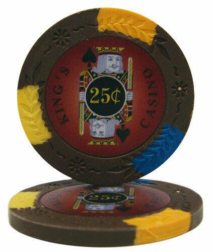 Chips - $0.25 Cent Brown Kings Casino 14 Gram Pro Clay - 100 Poker Chips