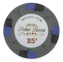 Chips - $0.25 Cent Gray Monaco Club 13.5 Gram - 100 Poker Chips