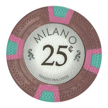 Chips - $0.25 Twenty Five Cent Milano 10 Gram Pure Clay - 100 Poker Chips