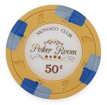 Chips - $0.50 Cent Orange Monaco Club 13.5 Gram - 100 Poker Chips