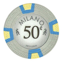 Chips - $0.50 Fifty Cent Milano 10 Gram Pure Clay - 100 Poker Chips