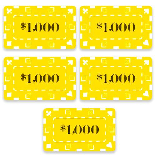 Chips - $1,000 Yellow Square Chips Rectangular Poker Plaques