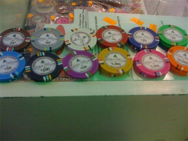 Chips - $1 White Claysmith Bluff Canyon 13.5 Gram - 100 Poker Chips