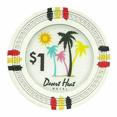Chips - $1 White Claysmith Desert Heat 13.5 Gram - 100 Poker Chips