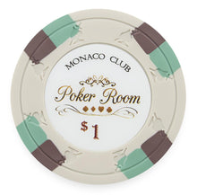 Chips - $1 White Monaco Club 13.5 Gram - 100 Poker Chips