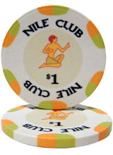 Chips - $1 White Nile Club 10 Gram Ceramic - 100 Poker Chips