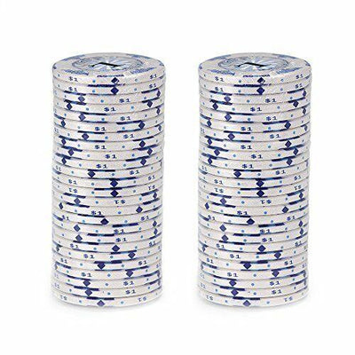 Chips - $1 White Scroll 10 Gram Ceramic - 100 Poker Chips