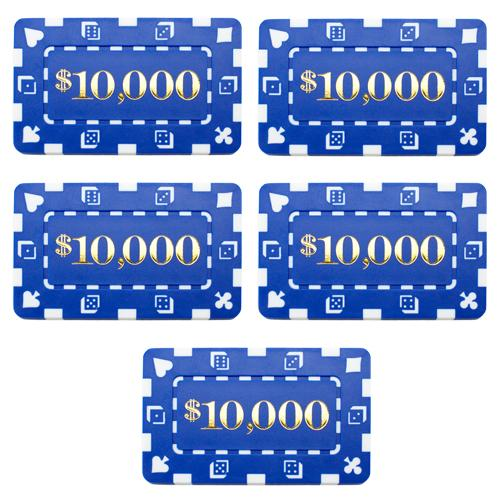 Chips - $10,000 Blue Square Chips Rectangular Poker Plaques