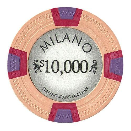 Chips - $10,000 Ten Thousand Dollars Milano 10 Gram Pure Clay - 100 Poker Chips