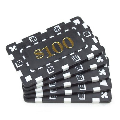 Chips - $100 Black Square Chips Rectangular Poker Plaques