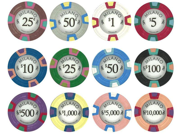 Chips - $100 One Hundred Dollars Milano 10 Gram Pure Clay - 100 Poker Chips