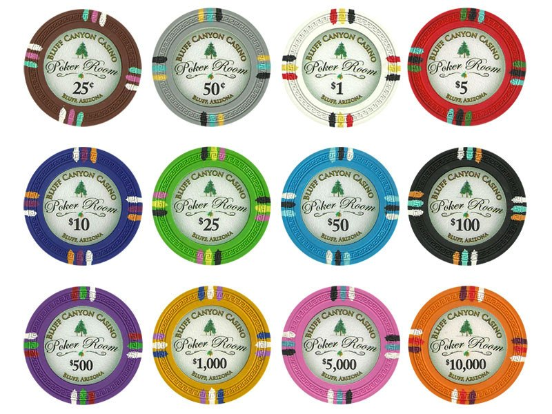 Chips - 1000 Claysmith Bluff Canyon 13.5 Gram Poker Chips Bulk