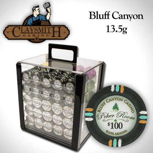 Chips - 1000 Claysmith Bluff Canyon 13.5 Gram Poker Chips Set With Acrylic Carrier Case