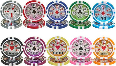1000 High Roller 14 Gram Poker Chips Set with Aluminum Case - The Poker Store .Com