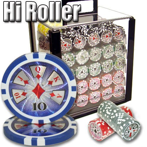 Chips - 1000 High Roller 14 Gram Poker Chips Set With Acrylic Carrier Case