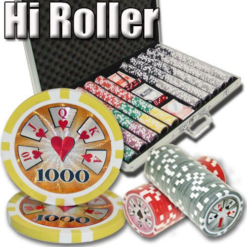 Chips - 1000 High Roller 14 Gram Poker Chips Set With Aluminum Case