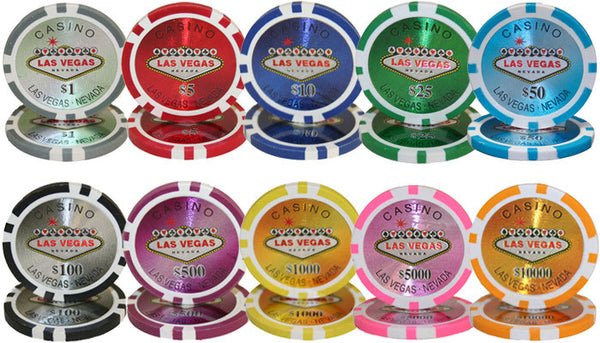 1000 Las Vegas 14 Gram Poker Chips Set with Aluminum Case - The Poker Store .Com