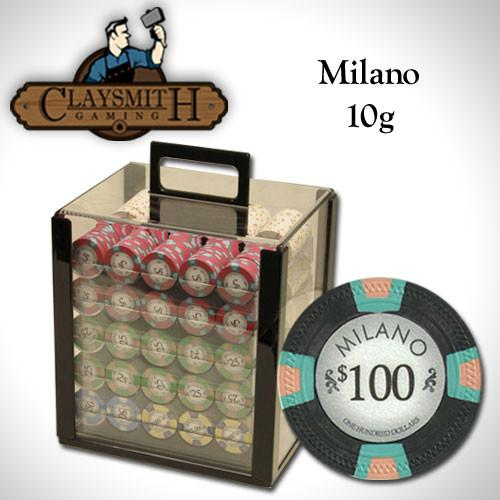 Chips - 1000 Milano 10 Gram Pure Clay Poker Chips Set With Acrylic Carrier Case