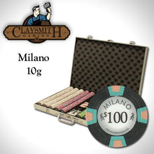 Chips - 1000 Milano 10 Gram Pure Clay Poker Chips Set With Aluminum Case