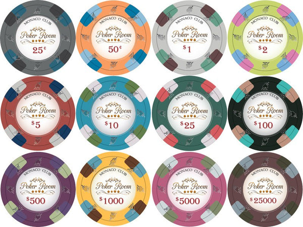Chips - 1000 Monaco Club 13.5 Gram Poker Chips Set With Acrylic Carrier Case