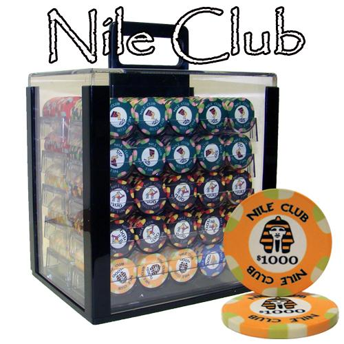 Chips - 1000 Nile Club 10 Gram Ceramic Poker Chips With Acrylic Carrier Case