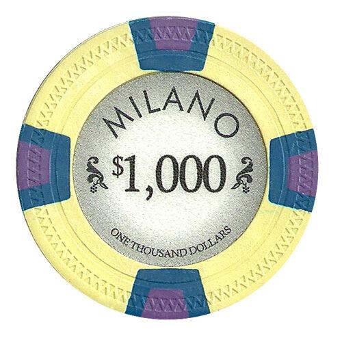 Chips - $1000 One Thousand Dollars Milano 10 Gram Pure Clay - 100 Poker Chips