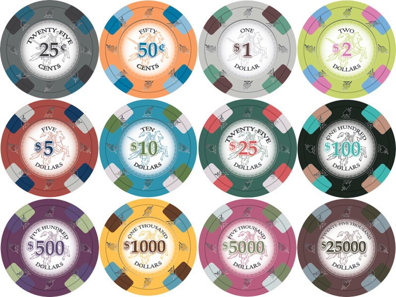 Chips - 1000 Royal Poker Knights 13.5 Gram Poker Chips With Acrylic Carrier Case