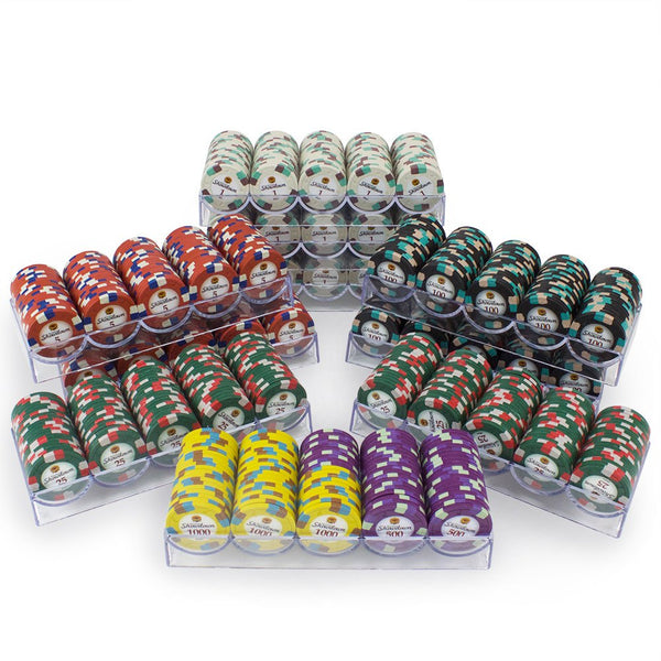 Chips - 1000 Showdown Casino 13.5 Gram Poker Chips Set With Acrylic Carrier Case