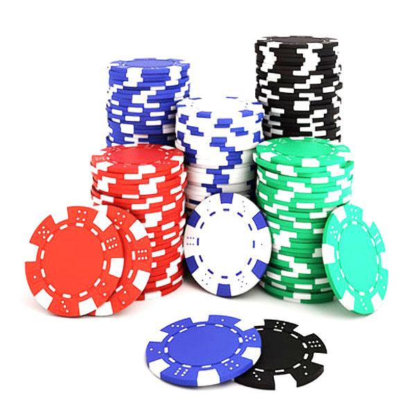Chips - 1000 Striped Dice 11.5 Gram Poker Chips Bulk